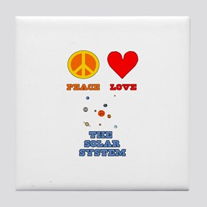 Peace Love The Solar System Tile Coaster